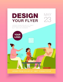 Family home activities flyer template