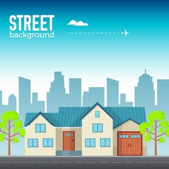 Семейный дом в городском пространстве с дорогой на плоской концепции фона
