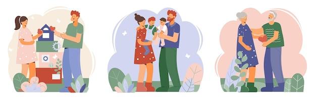 Family at home card set