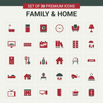 Family and home icons red