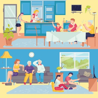 Family at home interior banners set of parents, grandparents and children in room, kitchen  illustration. happy family together on sofa, eating dinner. mother and daughter cooking food.