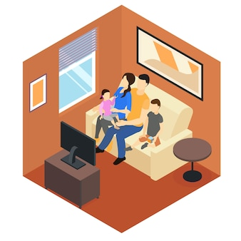 Family at home isometric design