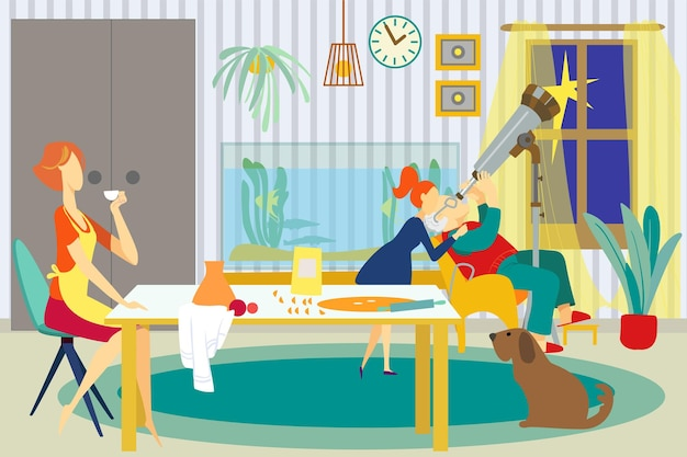 Family at home, vector illustration. grandfather character look at telescope equipment with child girl, mother drink tea cup at table.