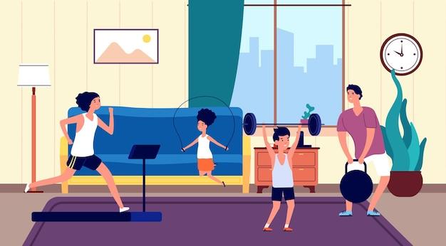 家族の家のトレーニング。ママパパ息子娘リビングルームでのスポーツトレーニング