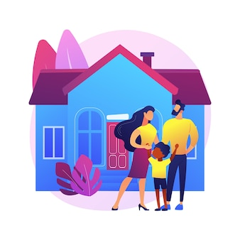 家族の家の抽象的な概念図。一戸建て戸建住宅、一戸建て、一戸建て、タウンハウス、個人住宅、住宅ローン、頭金。