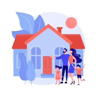 家族の家の抽象的な概念のベクトル図です。一戸建て一戸建て、一戸建て、一戸建て、タウンハウス、個人住宅、住宅ローン、頭金の抽象的な比喩。