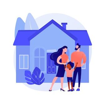 가족 집 추상 개념 벡터 일러스트입니다. 단독 주택, 가족 주택, 단독 주택, 연립 주택, 개인 주택, 모기지 대출, 계약금 추상 은유.