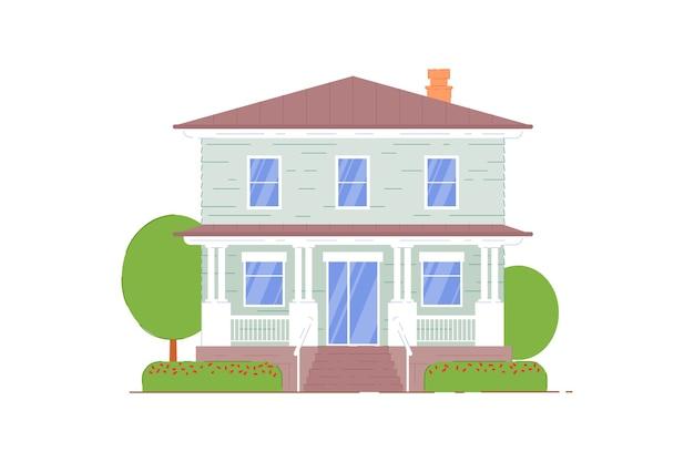 흰색 바탕에 가족 집 건물