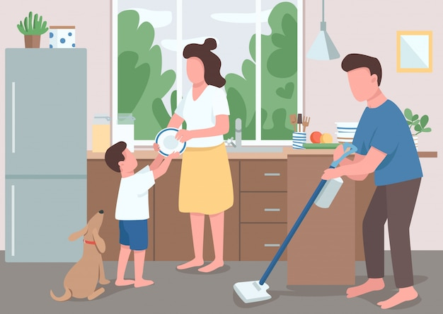 Family house cleanup flat color illustration. dad mopping kitchen floor. boy help mother wash dishes. parent cleaning house. relatives 2d cartoon characters with interior on background