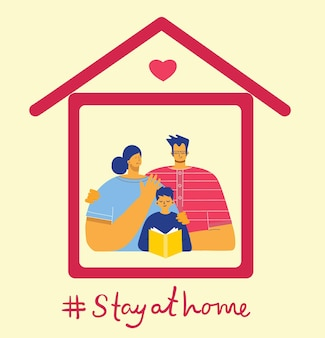Family at house icon illustration