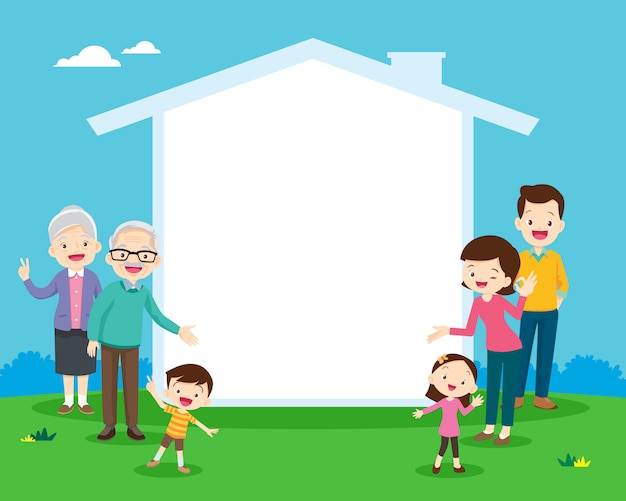 Family and house icon for your text