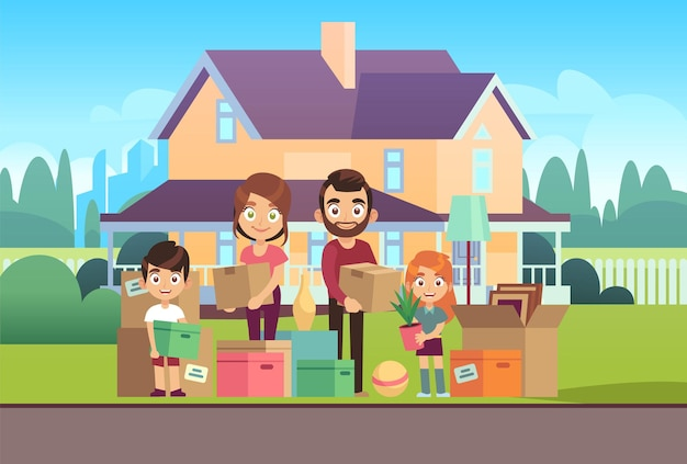 Family house. moving to new apartment happy young parents father mother son daughter kids outdoors front home building lifes for home move vector cartoon illustration