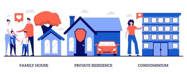 Семейный дом, частная резиденция, кондоминиум с крошечными людьми. набор векторных иллюстраций рынка недвижимости. ипотечный кредит, первоначальный взнос, собственность на землю, особняк, метафора заднего двора.