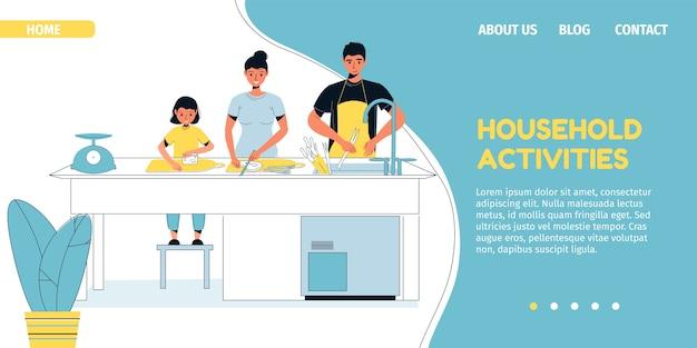 Family household activity on kitchen.