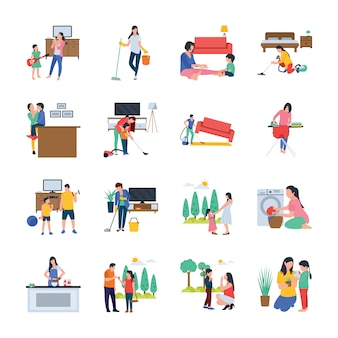 Family, housewife, family walking outdoor flat vectors set