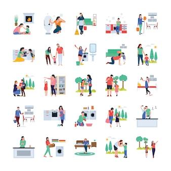Семья, домохозяйка, семейная ходьба открытый плоские векторы