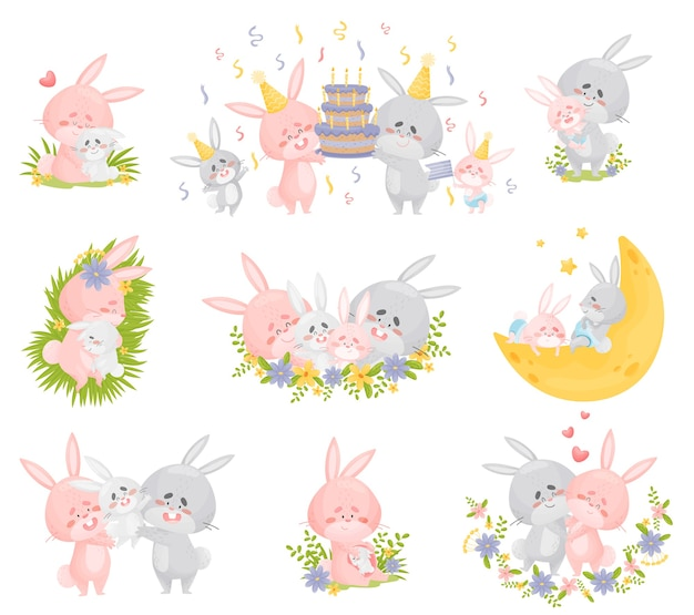 Family of humanized rabbits in different situations