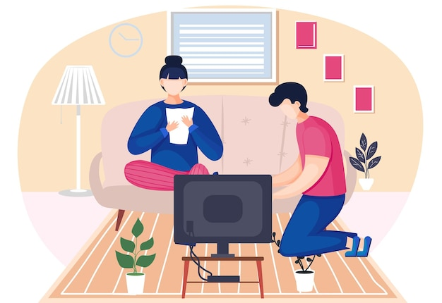 部屋で一緒に話している家族の夫と妻