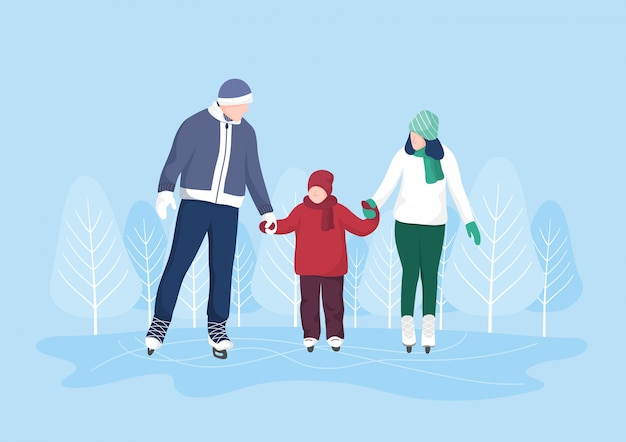 Family ice skating on ice surfaces, winter extreme sports character