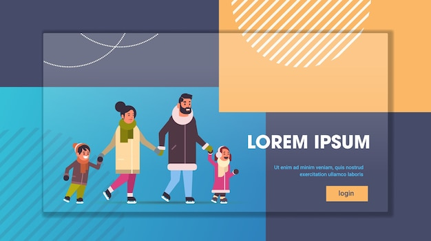 Family at ice-skating rink merry christmas new year winter holidays concept parents and children spending time together full length flat horizontal copy space vector illustration