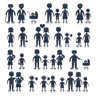 Family icons set black