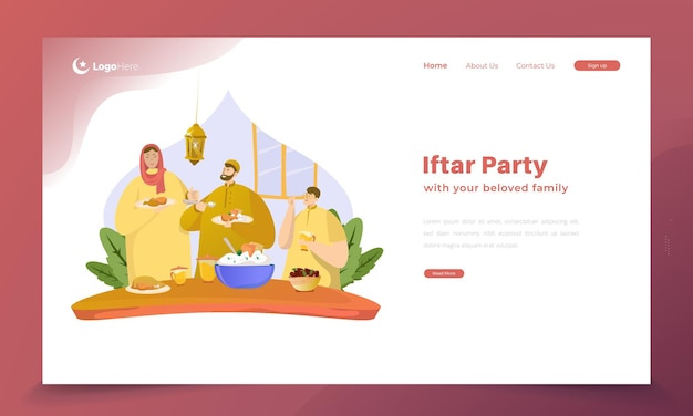 Family iftar party illustration for ramadan concept on landing page