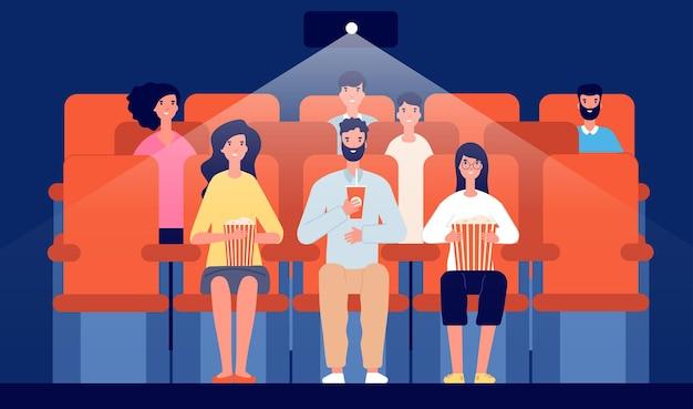 映画館の家族。漫画の映画館、映画を見ている人々は食べたり飲んだりします。観客の群衆、エンターテインメントホールのインテリアベクトルイラスト。映画の家族、映画を見ている
