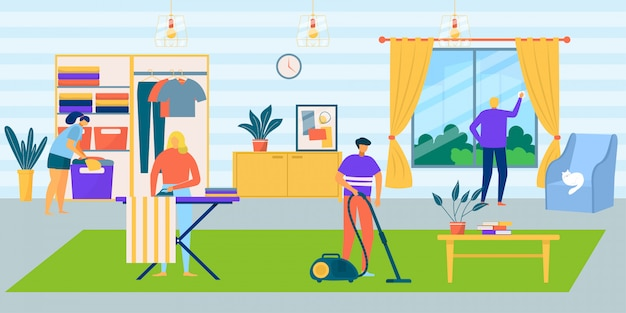 집안의 가족은 집안일, 만화 집 그림을합니다. 사람들 남자 여자 캐릭터 청소 방 함께, 국내 청소기. 가사, 아버지 어머니 내부 청소.