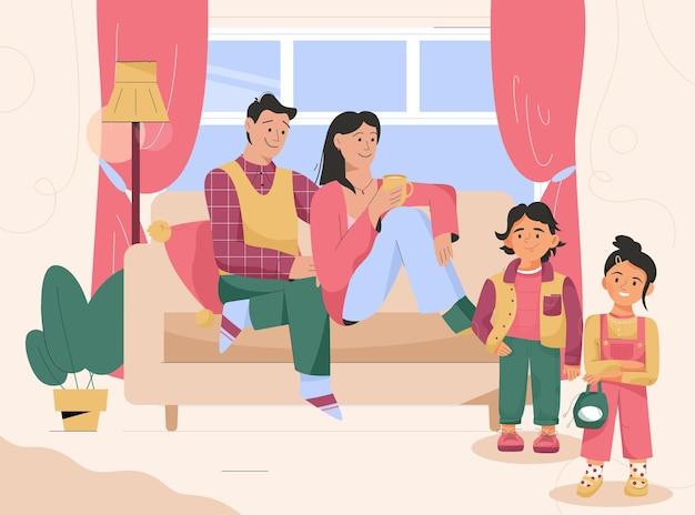 一緒に居間の家族子供時代の子育て