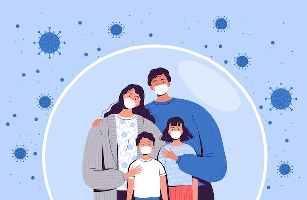 Семья в медицинских масках стоит в защитном пузыре. взрослые и дети защищены от нового коронавируса covid-2019.
