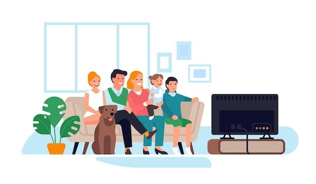 部屋のインテリアの家族。ソファの上の幸せな人々はテレビを見ます、両親と子供と犬は夜をリラックスし、一緒に映画を見て、家庭生活のベクトルの概念