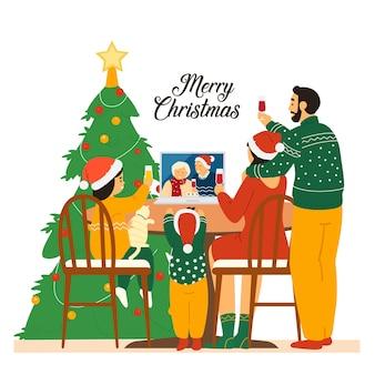 Семья в шляпах санта-клауса празднует рождество с бабушкой и дедушкой с помощью видеоконференции.