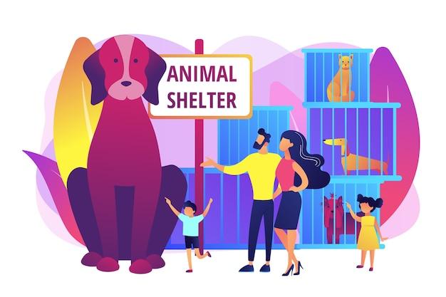 子犬を選ぶ避難所の家族。檻の中のホームレス犬。動物保護施設、ペットの採用のための救助、友人の概念を選ぶために来ます。明るく鮮やかな紫の孤立したイラスト