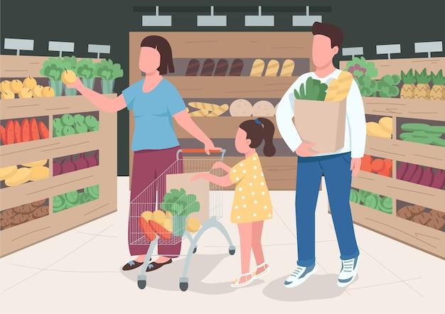 スーパーマーケットのフラットカラーの家族。夫と妻は幼児の子供と一緒に食料品を購入します。トロリーカートの近くの子供。背景にインテリアと娘の2d漫画のキャラクターを持つ親