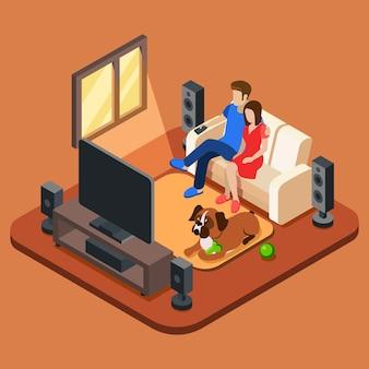 テレビを見ているリビングルームの家族