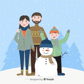 家族、雪、クリスマスの背景 無料ベクター