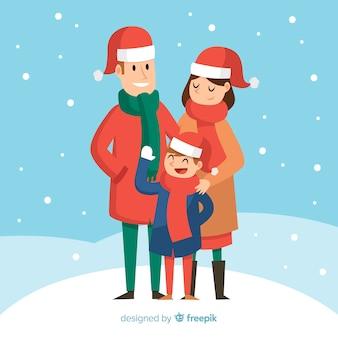 家族、雪、クリスマス、イラスト