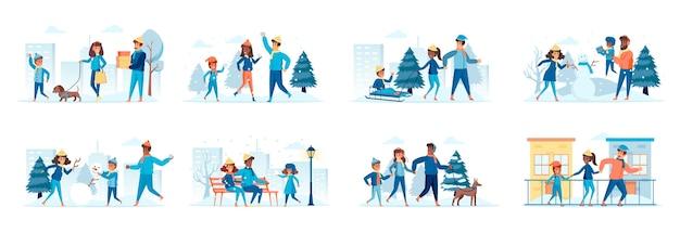 Семья в зимнем парке, набор сцен с персонажами плоских людей