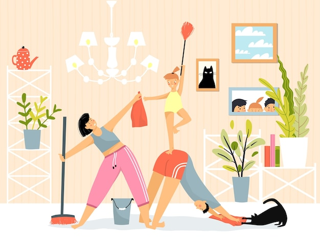 Family inside room daily routine housework cleaning and yoga fitness exercise.