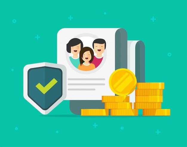 Семейное страхование финансовое обеспечение или деньги, жизнь, уход, защита, защита, щит, плоская концепция