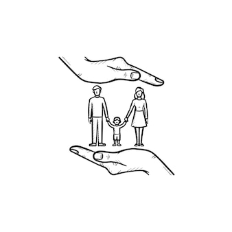 Family insurance hand drawn outline doodle icon