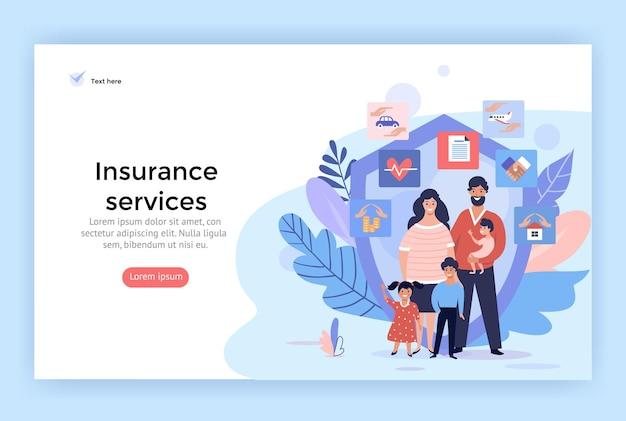 Иллюстрации концепции услуг семейного страхования, идеально подходящие для веб-дизайна