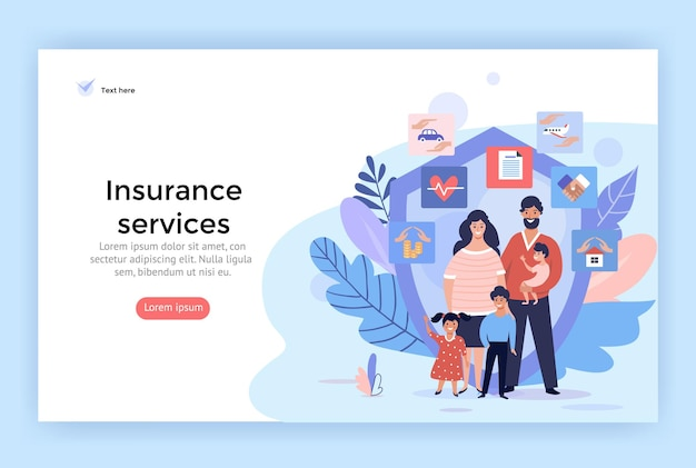Family insurance services concept illustrations perfect for web design