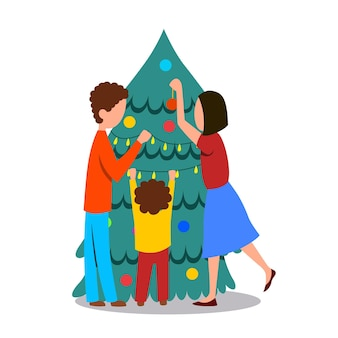 The family is decorating the christmas tree a man a woman and a child without a face hang toys