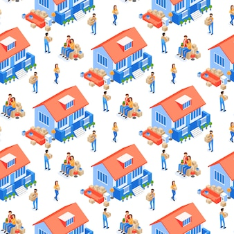 Family is moving house seamless pattern vector.