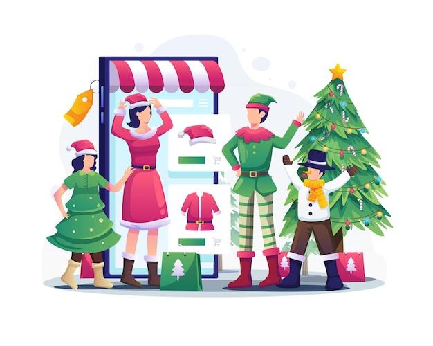가족이 스마트폰을 통해 온라인 쇼핑을 하고 크리스마스 의상 삽화를 시도하고 있습니다
