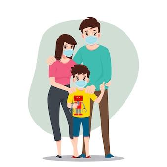 Семья носит маски, чтобы защитить себя от коронавируса