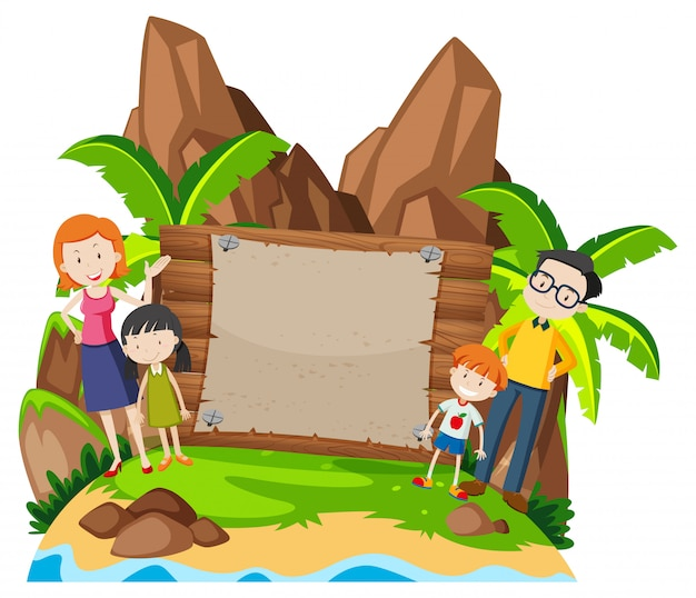 Family on island background