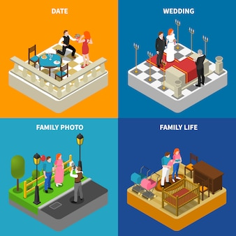 Family isometric icons square banner