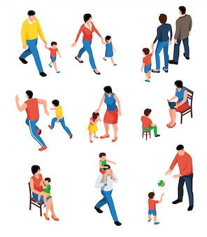 Family isometric set with parents playing and walking with their kids isolated